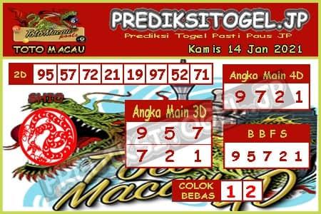 Prediksi Togel Toto Macau JP Kamis 14 Januari 2021