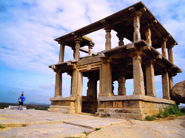 A double-storeyed pavilion on Hemkuta Hill in Hampi.