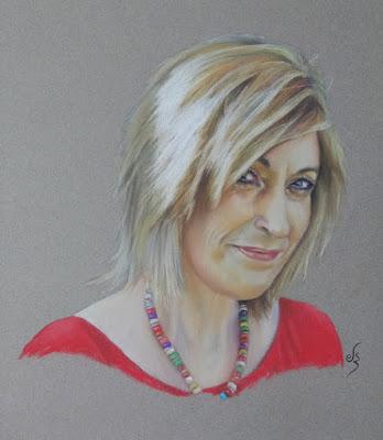 Retrato a pastel de una mujer