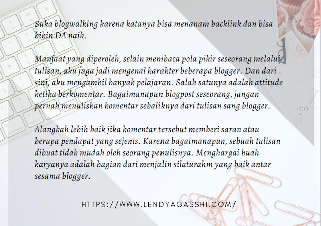 Manfaat blogwalking - Fakta lendyagasshi