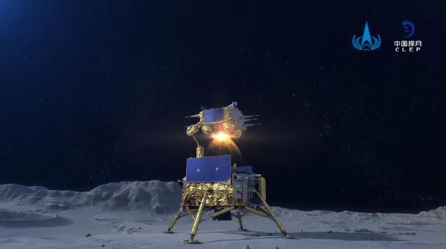 Ilustração artística da sonda Chang'e 5 na superfície da Lua - CNSA - CLEP