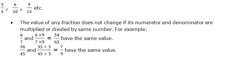 Equivalent fractions examples