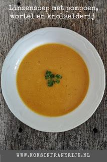 Lekker, makkelijk en gezond recept voor linzensoep met pompoen, wortel en knolselderij