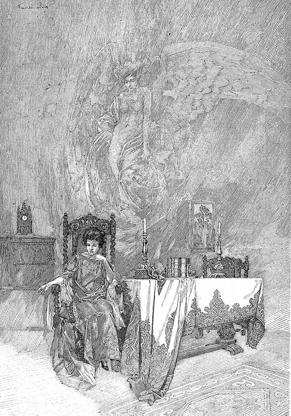 a Franklin Booth illustration of a woman thinking