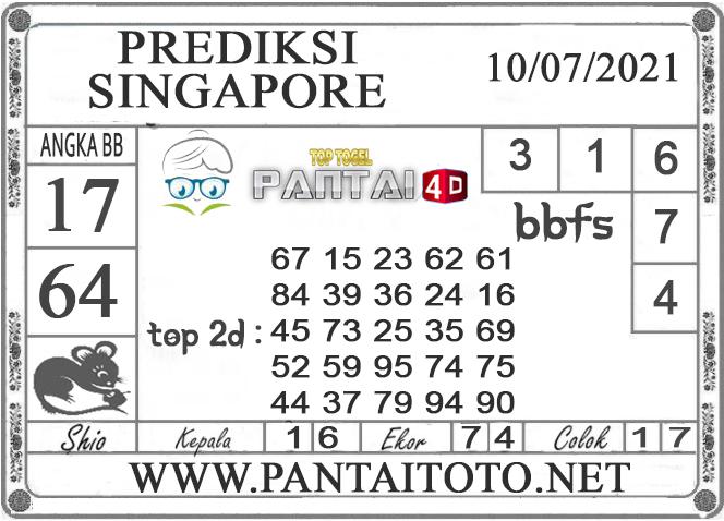 PREDIKSI TOGEL SINGAPORE PANTAI4D 10 JULI 2021