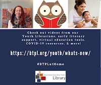 Facebook post about Youth Dept virtual literacy support, resources, and videos with images of youth librarian, owl reading, and mother with child on a computer