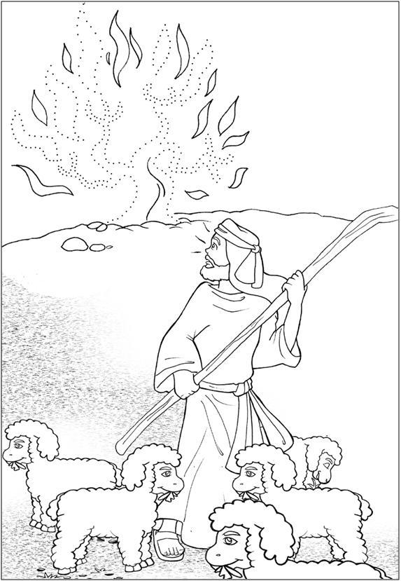 Moises y la zarza para colorear ~ Dibujos Cristianos Para