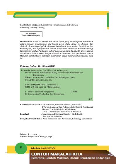 Buku Pegangan Guru Dan Murid Ipa Smp Mts Kelas 9 Semester 1 Kurikulum 2013 Contoh Makalah Kita