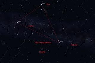 Ubicación de la constelación del Delfín