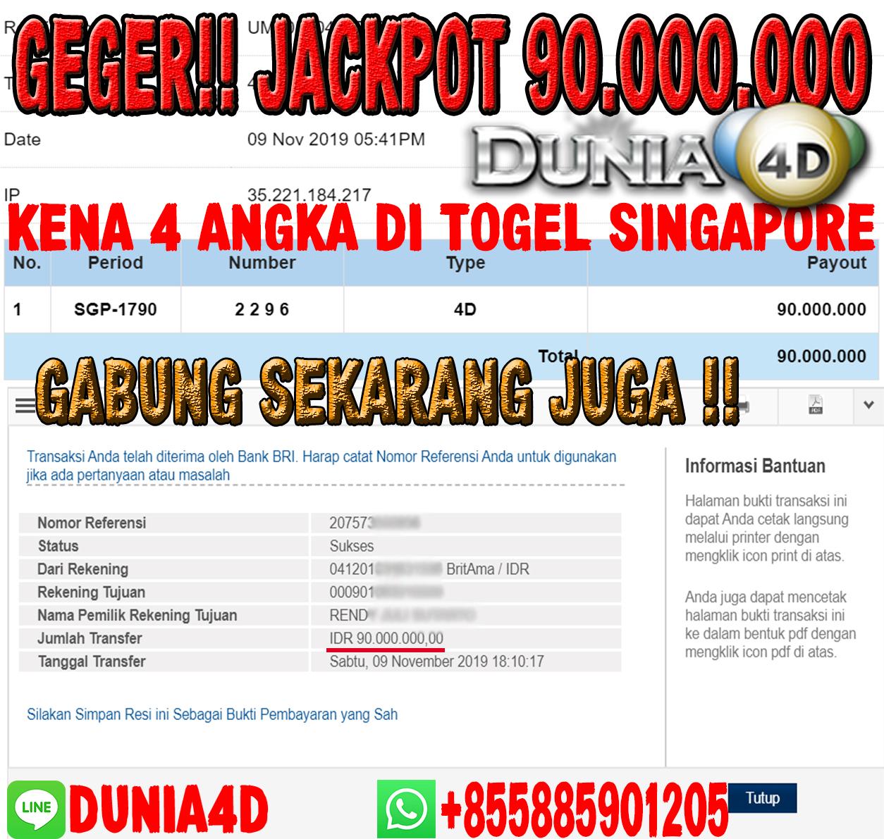 GEGER !! JACKPOT 90.000.000 !! KENA 4 ANGKA DISINGAPORE 9 NOVEMBER 2019