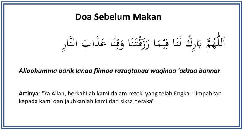 Doa Sebelum Makan Dan Sesudah Makan Atau Minum Beserta