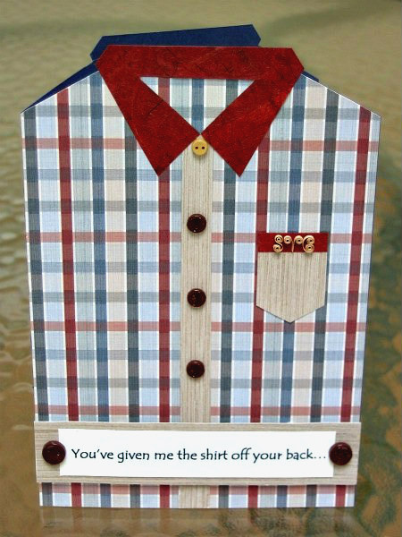 plaid shirt Father's Day card with quilled initials on pocket