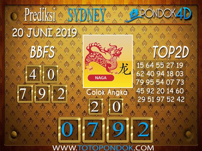 Prediksi Togel SYDNEY PONDOK4D 20 JUNI 2019