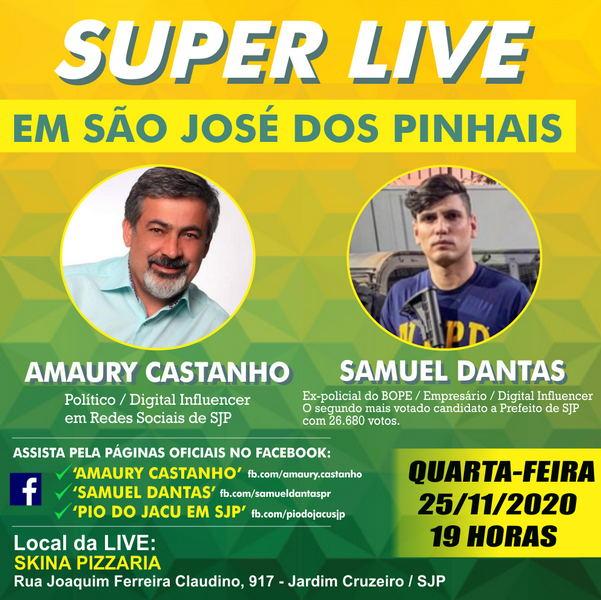 Hoje tem SUPER LIVE em São José dos Pinhais com Amaury Castanho e Samuel Dantas