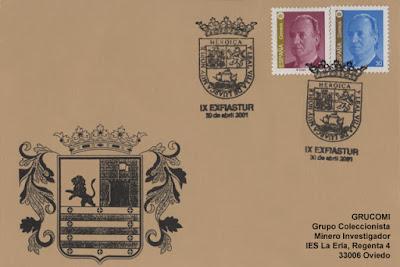 Tarjeta del matasellos de la IX EXFIASTUR, celebrada en Luarca