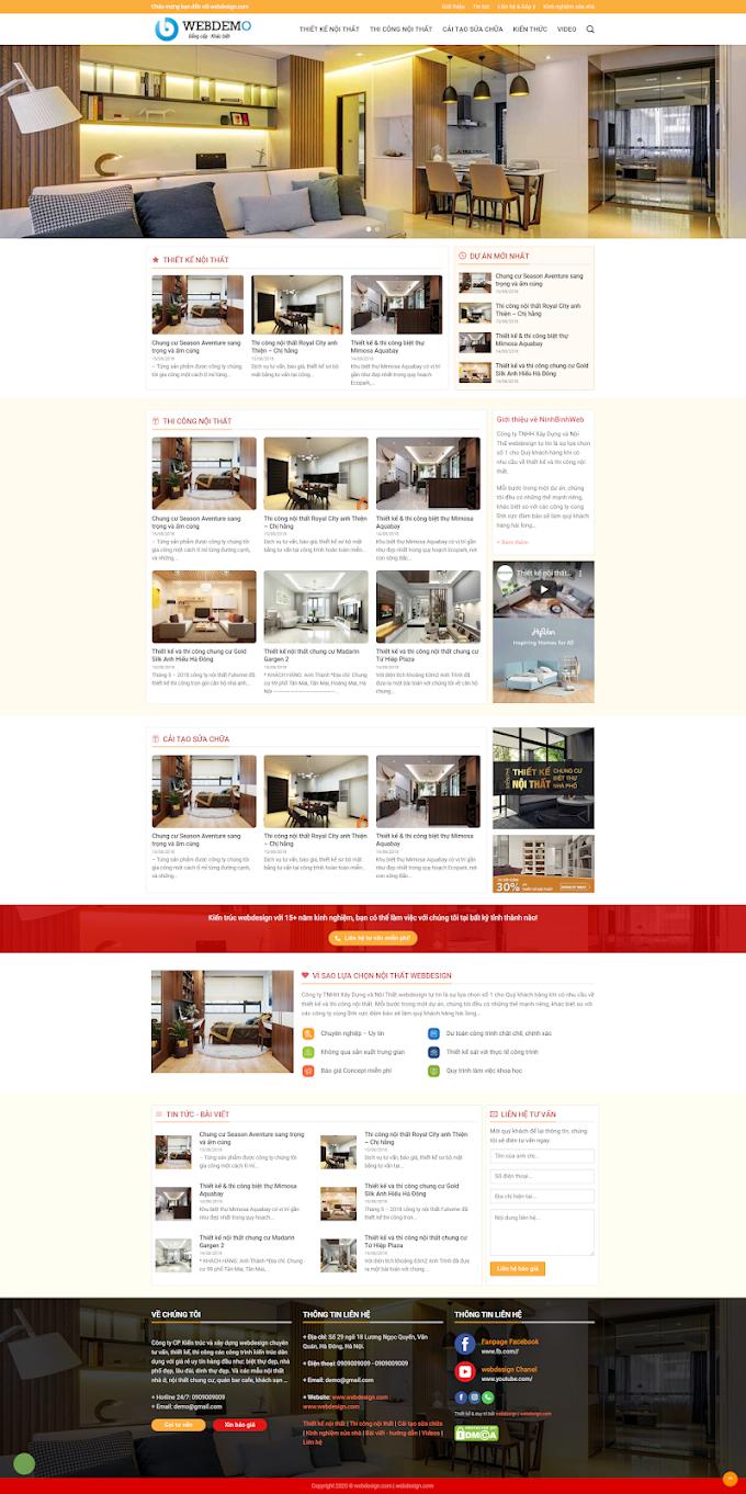 Mẫu website giới thiệu Nội Thất