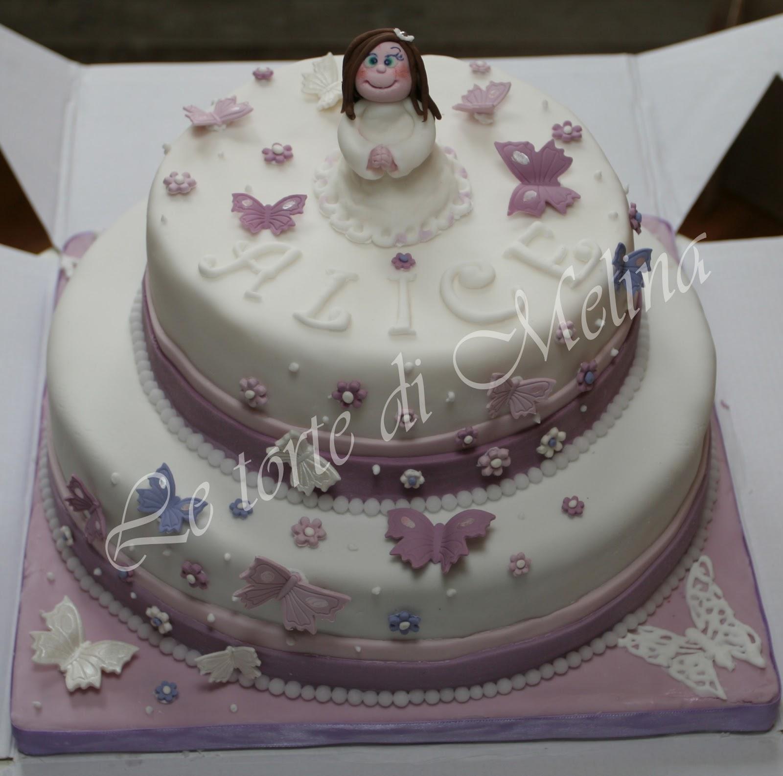 """Favoloso Le torte di Melina: Torta """"Comunione e farfalle"""" WC28"""