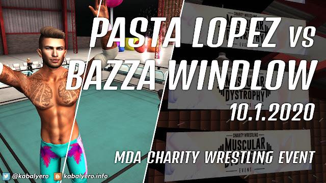 Pasta Lopez vs Bazza Windlow! MDA Charity Wrestling Event 2020 [Second Life Wrestling]