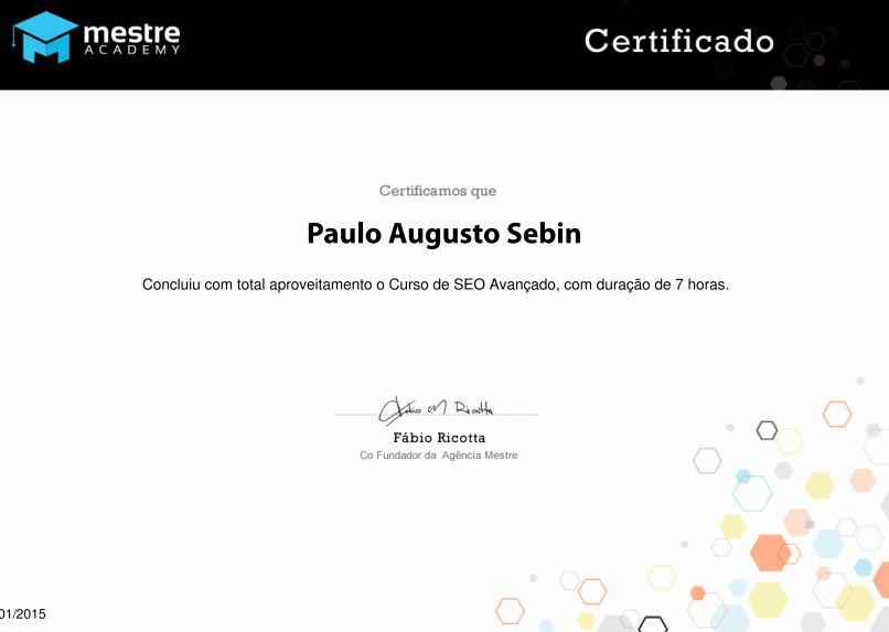 Certificado avançado de SEO