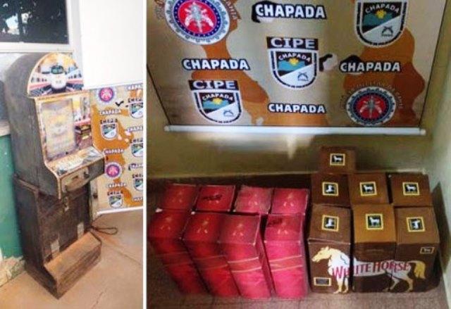 Cipe Chapada apreende drogas, máquina caça-níquel e produtos falsificados, em Rio do Pires