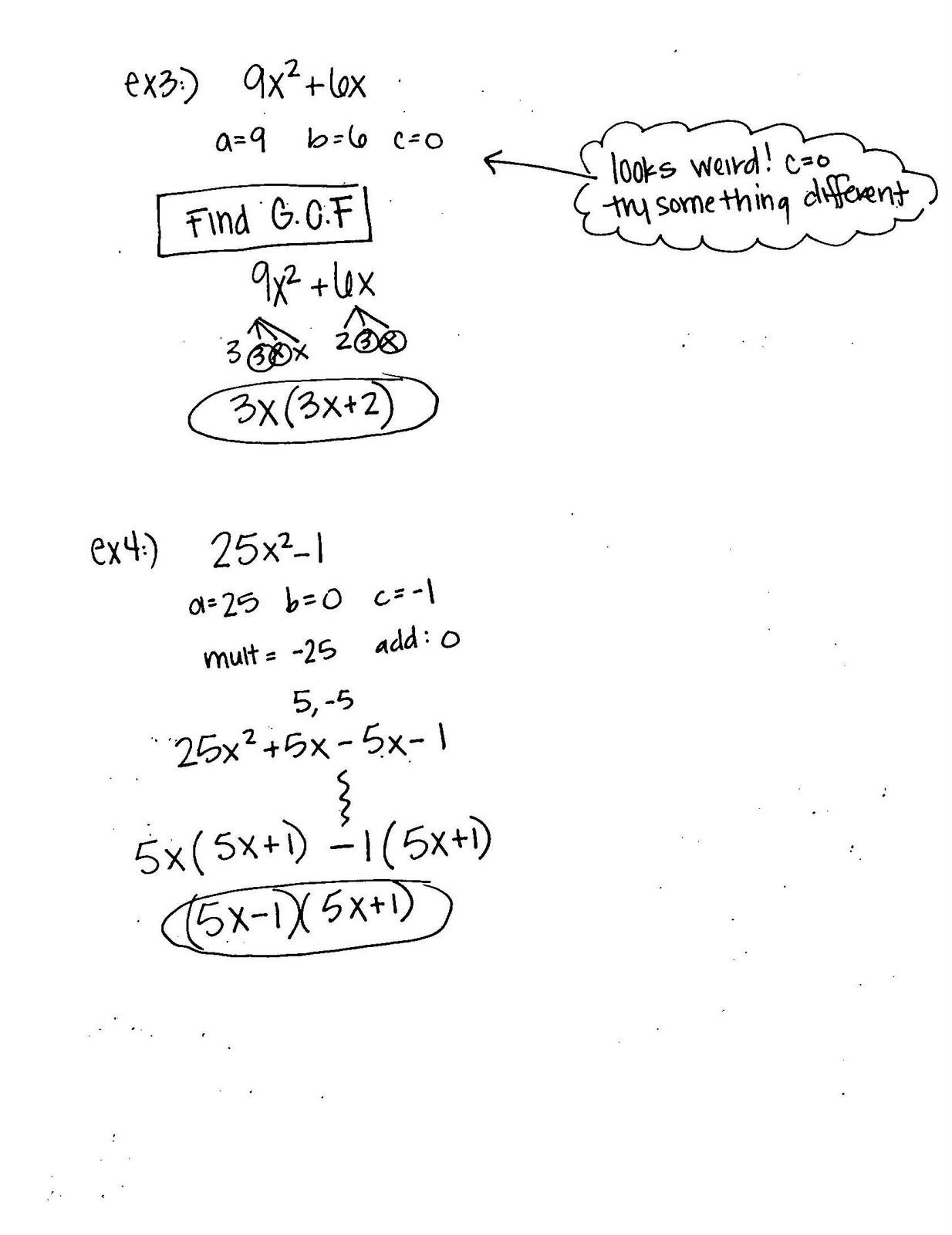 Algebra 1 Unit 7 Day 5 Factoring Polynomials Continued