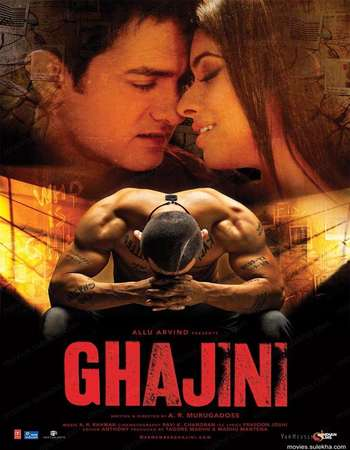 Poster Of Ghajini 2008 Hindi 550MB BRRip 720p ESubs HEVC Watch Online Free Download Worldfree4u