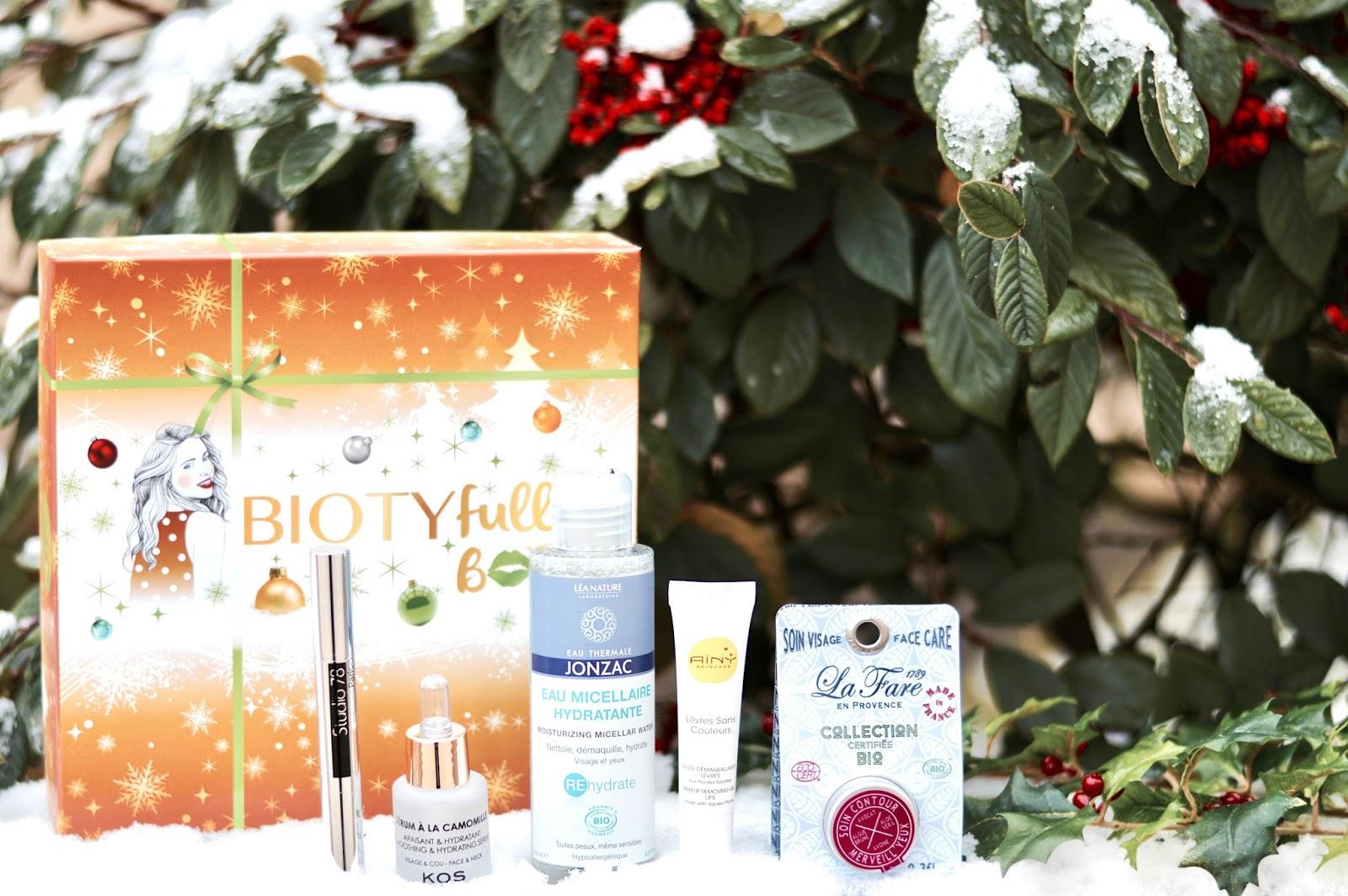 Biotyfull box, box beauté bio, cosmetique bio,, edition décembre La Merveilleuse de Noël