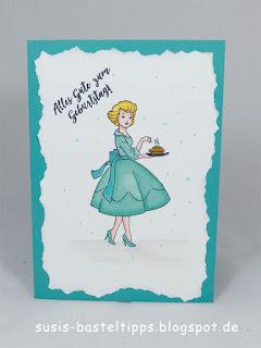 Geburtstagskarte christmas in the making stampin up minikatalog sechziger jahre mädchen mit selbstgebackenem Kuchen von demonstratorin in coburg susis basteltipps