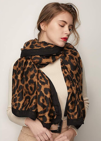 Fashionable Leopard Print Silky Chiffon Scarves Shawls