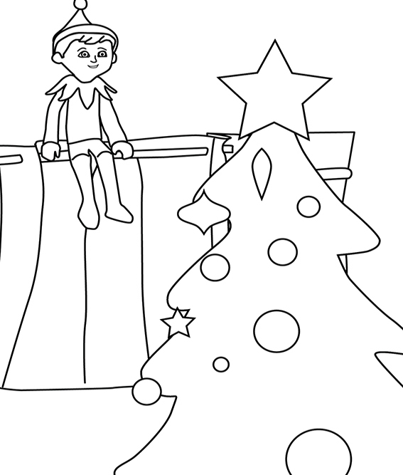 This is an image of Impeccable Elf on the Shelf Coloring Pages Printable