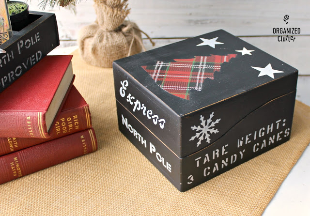 Photo of a thrifted wooden box upcycle with Christmas stencils