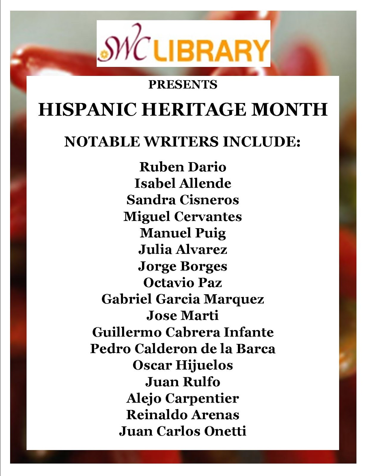 What S New Swc Library Hispanic Heritage Month