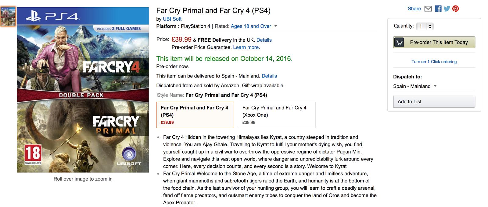 Far Cry Primal y Far Cry 4 protagonizan un nuevo pack para el 14 de octubre