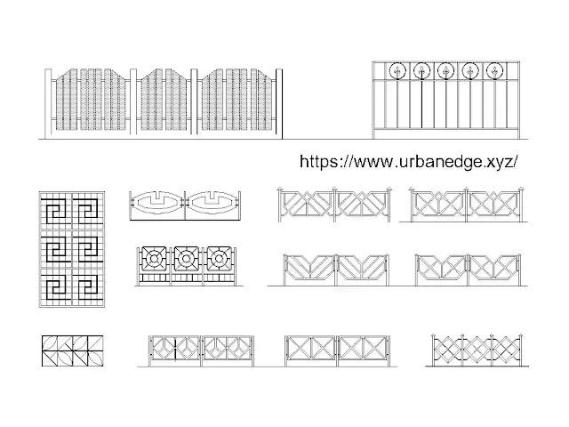 Fences and Lattices cad blocks download - 10+ dwg cad blocks