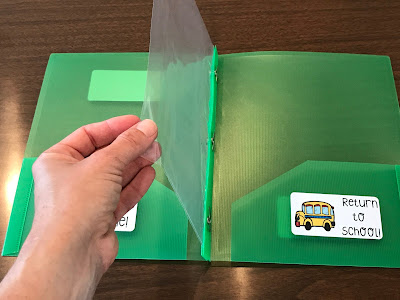 Use a sheet protector inside of students' Take Home Folders to keep behavior log and reading log from getting lost in the shuffle