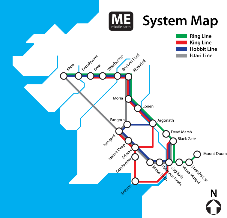 Rings Subway Map.Bradvertise Lord Of The Rings Subway Map