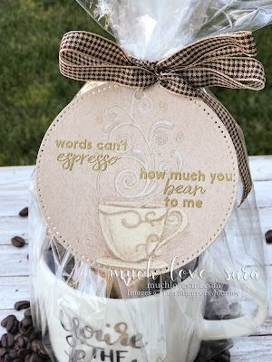 Coffee themed gift with a handmade gift tag, created with the Espresso Swirls ATS Stamp Set, available from Fun Stampers Journey EXCLUSIVELY as a Bloom Benefit - spend $75 or more on any FSJ products, and choose this stamp set as a free bonus!  Tag features no line coloring technique on kraft Oatmeal Cookie card stock.