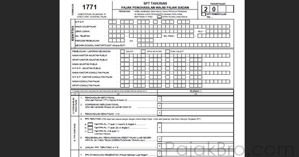 Formulir Spt Tahunan Badan 1771