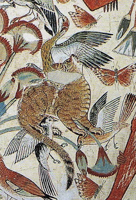 Detail of cat in painting from Tomb of Nebamun, ca. 1350 BC, Thebes, Egypt