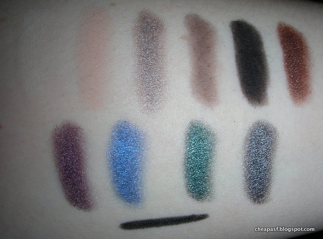 Swatches of MUA Smokin Eyeshadow palette (flash)