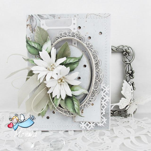 Kartka z białymi kwiatami