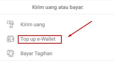 Topup E-wallet menggunakan Jenius