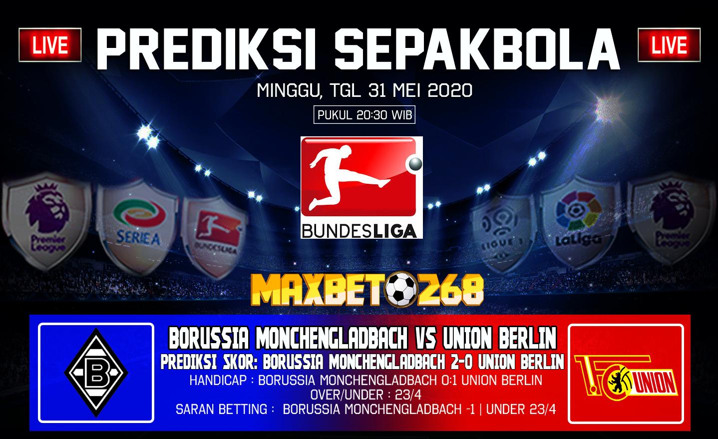Prediksi Bola Borussia Monchengladbach Vs Union Berlin 31 Mei 2020 Pukul 20.30 WIB