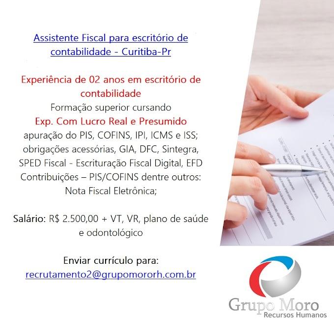 Assistente Fiscal, (Escritório Contábil), CURITIBA, PR