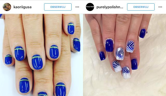 kobaltowe paznokcie