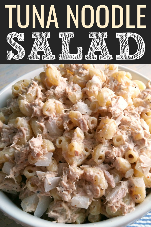 Tuna Noodle Salad! A hearty pasta salad recipe with canned tuna and macaroni noodles perfect for an easy meal and made with pantry staples.