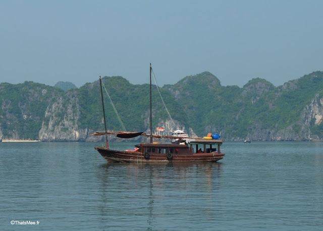 jonque traditionnelle baie halong voyage vietnam tour bateau par cat ba, mer montagne paysage vietnam