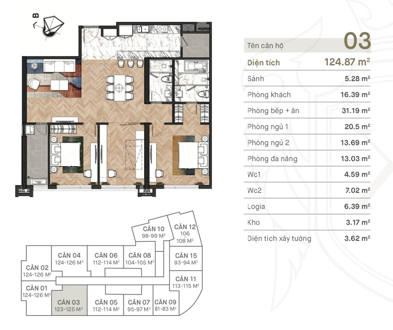 Thiết kế căn 03 King Palace