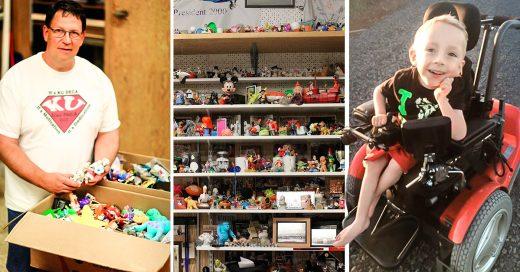 Subasta su colección de juguetes para darle a un niño una nueva silla de ruedas