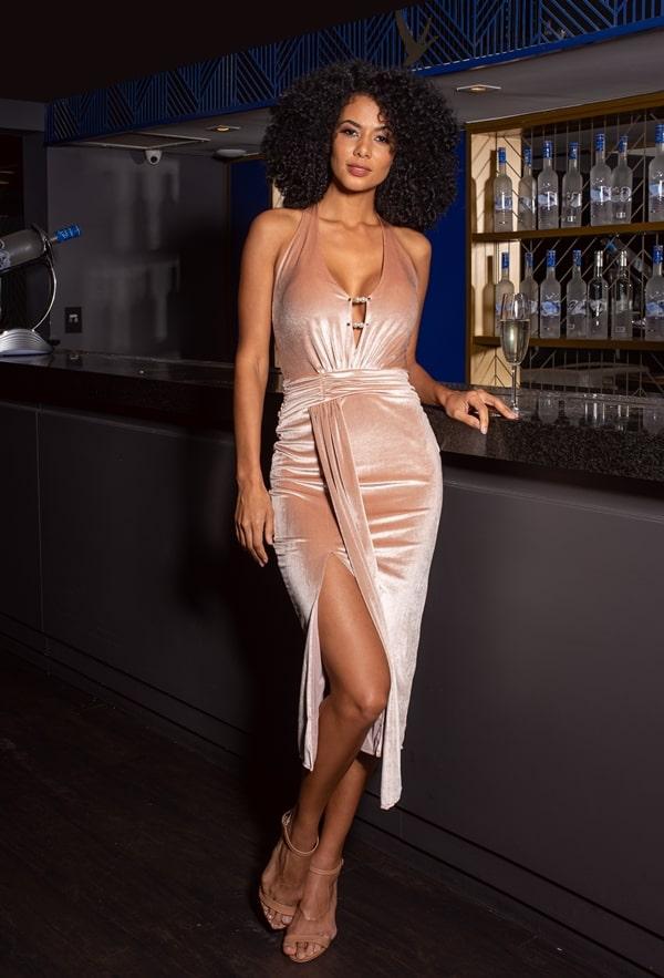 vestido de festa midi rose de veludo